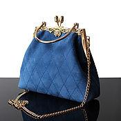 Classic Bag handmade. Livemaster - original item Blue suede evening bag, gold and blue. Handmade.