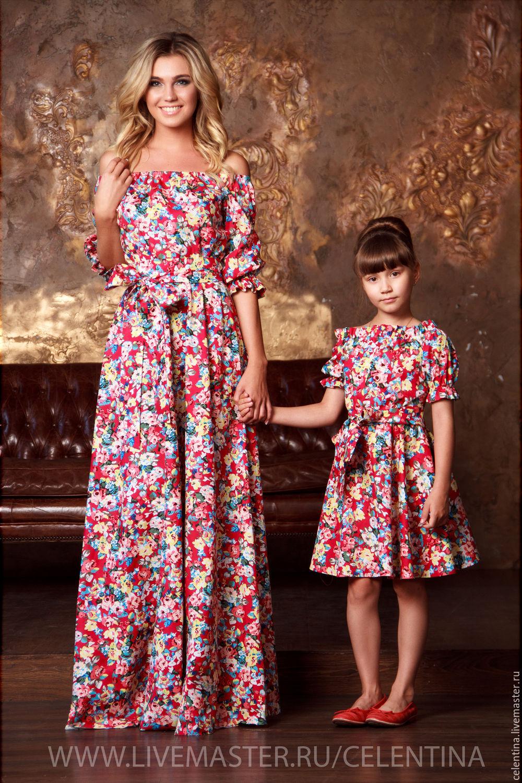67c3f511d8b3c family look, одинаковая одежда для мамы и дочки, детское платье из хлопка,  ...