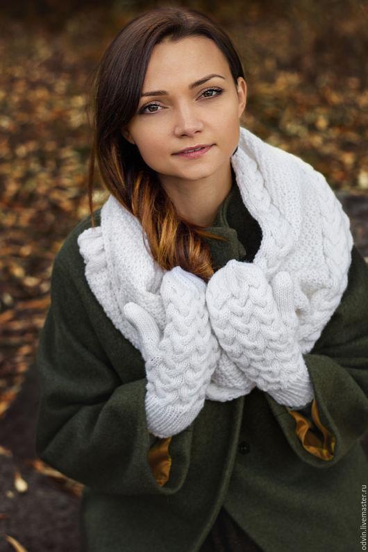 комплект вязаный женский, комплект шарф и варежки, шарф вязаный женский, варежки вязаные женские, зимняя мода, осенняя мода, шарф снуд вязаный, варежки вязаные, шарф вязаный, снуд вязаный, , снуд в дв
