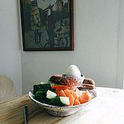 """Для дома и интерьера ручной работы. Ярмарка Мастеров - ручная работа тарелки-подставки под яйца в """"мешочек"""". Handmade."""