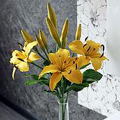 Цветы и флористика handmade. Livemaster - original item Yellow lilies polymer clay.. Handmade.