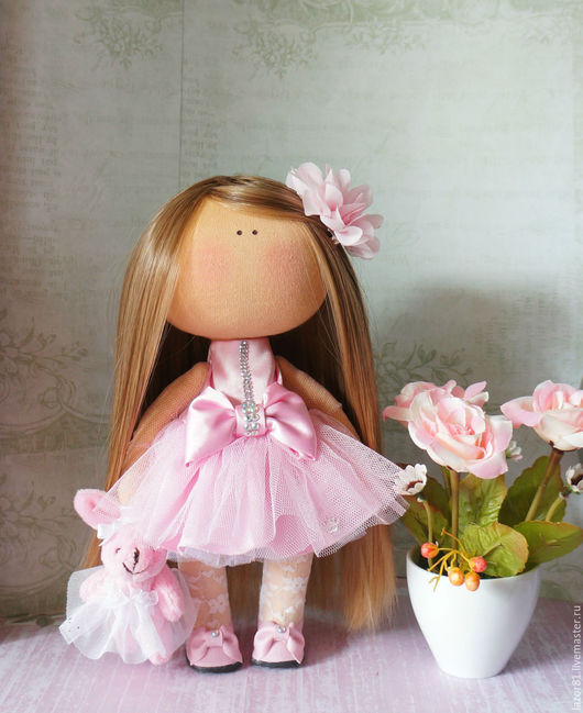 Коллекционные куклы ручной работы. Ярмарка Мастеров - ручная работа. Купить Балерина. Handmade. Розовый, кукла текстильная, интерьер, трикотаж