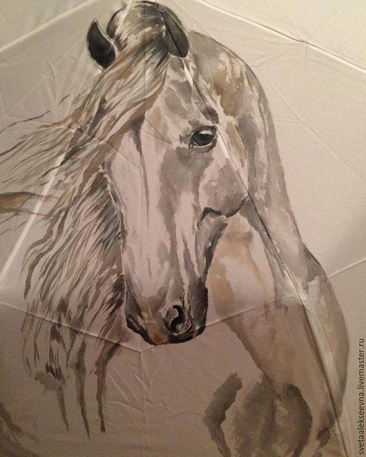 """Зонты ручной работы. Ярмарка Мастеров - ручная работа. Купить Зонт с ручной росписью """"Белая лошадь"""". Handmade. Белый, единорог"""