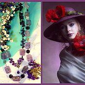 Украшения handmade. Livemaster - original item Double beads with amethysts