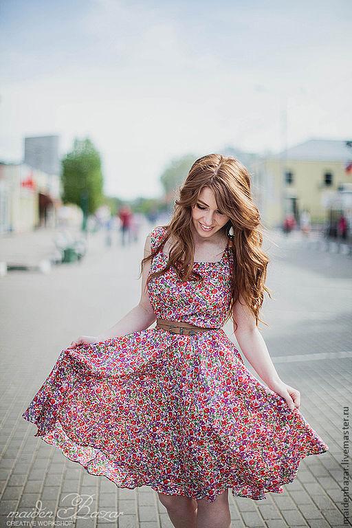 Платья ручной работы. Ярмарка Мастеров - ручная работа. Купить Летнее платье из хлопка.. Handmade. Цветочный, короткое платье