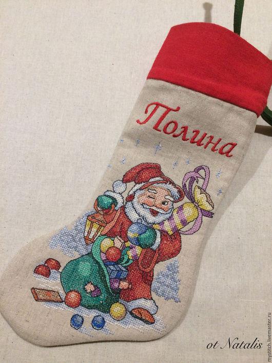 """Новый год 2017 ручной работы. Ярмарка Мастеров - ручная работа. Купить Новогодний носок-мешочек  """"Санта-5"""". Handmade. новогодний"""