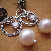 Украшения handmade. Livemaster - original item earrings original silver, pearl, cubic zirconia. Handmade.