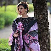 Аксессуары handmade. Livemaster - original item Pink black Wool Shawl. Handmade.