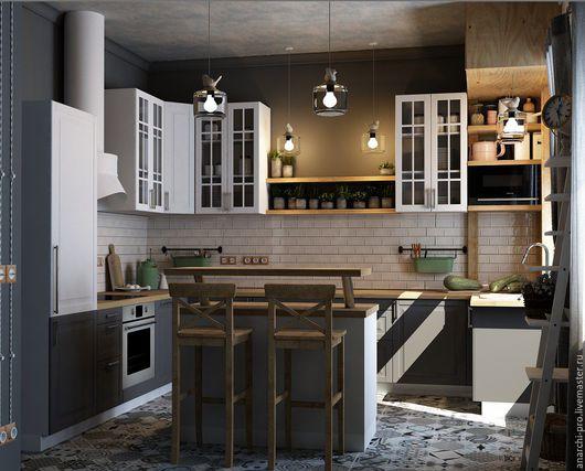 Дизайн интерьеров ручной работы. Ярмарка Мастеров - ручная работа. Купить дизайн кухни/столовой. Handmade. Комбинированный, чертежи