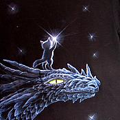 Футболки ручной работы. Ярмарка Мастеров - ручная работа Футболка про кота, дракона и небо в августе. Handmade.