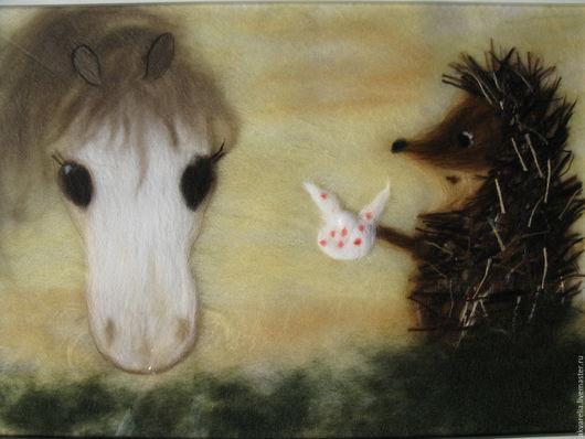 Животные ручной работы. Ярмарка Мастеров - ручная работа. Купить Картина из шерсти Ежик в тумане. Handmade. Бежевый, картина из шерсти