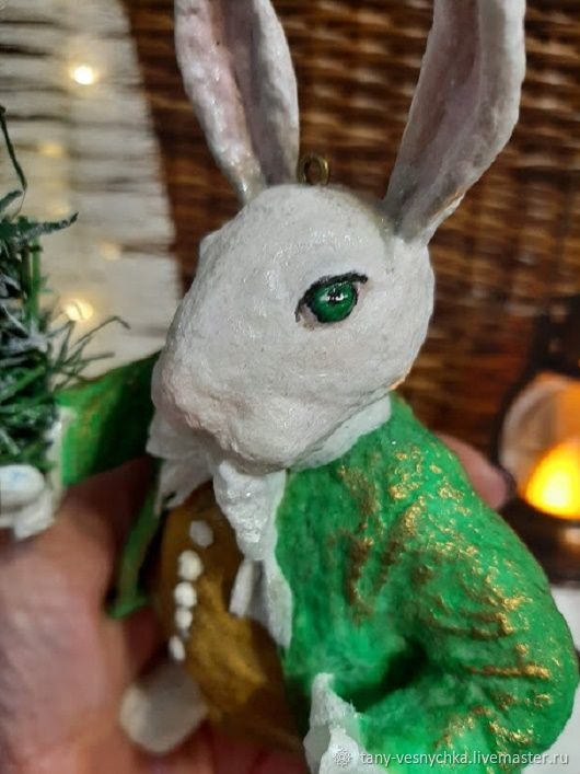 Rabbit made of cotton wool, a Toy for the Christmas tree, Toys, Tomsk,  Фото №1