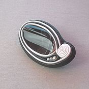 Украшения handmade. Livemaster - original item Brooch with black agate. Jewelry made of leather and stone. Handmade.