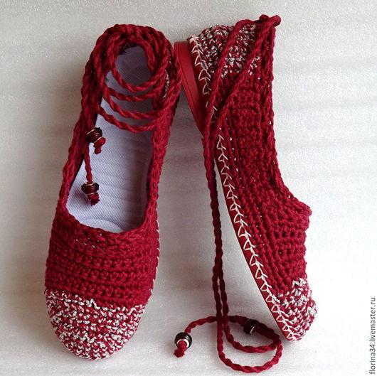 Обувь ручной работы. Ярмарка Мастеров - ручная работа. Купить Балетки уличные Бордовые грезы о лете, бохо, лен. Handmade.