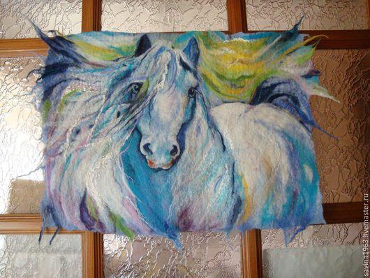 """Животные ручной работы. Ярмарка Мастеров - ручная работа. Купить Картина из шерсти """"Голубой конь """" (от 4500 руб). Handmade."""