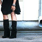 Обувь ручной работы. Ярмарка Мастеров - ручная работа Сапоги замшевые с закрытым каблуком. Handmade.
