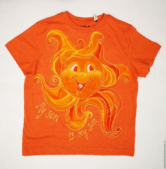 """Для подростков, ручной работы. Ярмарка Мастеров - ручная работа. Купить Роспись по ткани """"Солнышко"""". Handmade. Оранжевый, солнце, детство"""