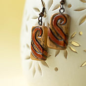Украшения handmade. Livemaster - original item Earrings carved from alder. Handmade.