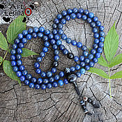 Фен-шуй и эзотерика handmade. Livemaster - original item Buddhist prayer beads from Afghan lapis lazuli and black agate 108 beads. Handmade.