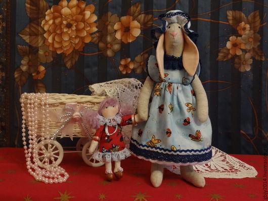 Куклы Тильды ручной работы. Ярмарка Мастеров - ручная работа. Купить Зайка с лялькой. Handmade. Голубой, небо, детство, радость
