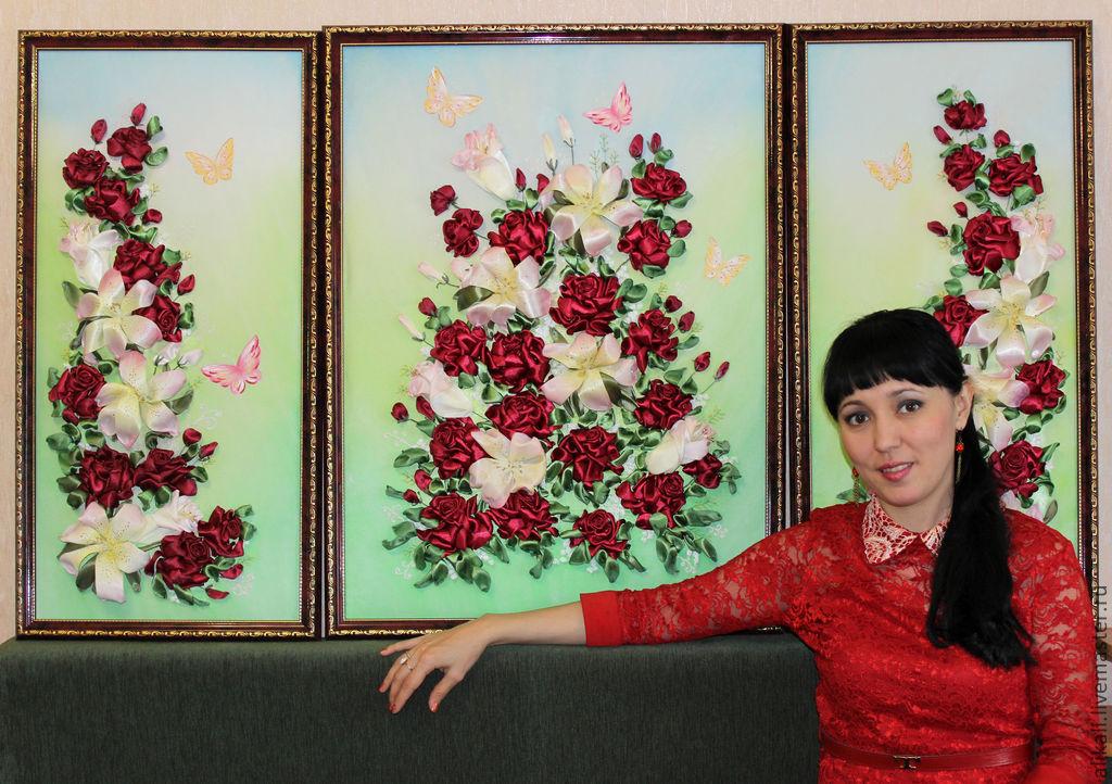 """Картина""""Красные розы сделано своими руками"""