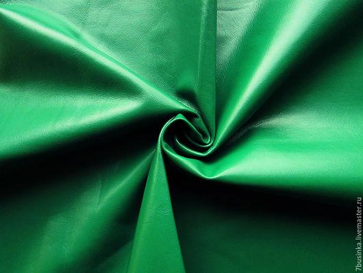 Тонкая натуральная кожа. Ярко-зеленая. Шкурка 63 кв.дм, толщина 0,5 мм. Елена (7businka).