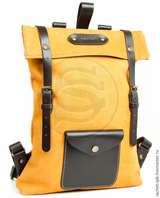 The backpack from the Vogue yellow leather, Backpacks, St. Petersburg,  Фото №1