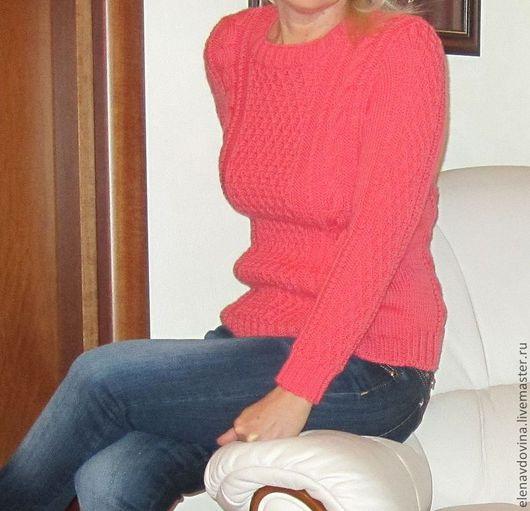 Кофты и свитера ручной работы. Ярмарка Мастеров - ручная работа. Купить джемпер. Handmade. Коралловый, джемпер вязаный, спицами