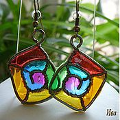 "Украшения handmade. Livemaster - original item Brass wire wrapped earrings ""Rainbow square direct"". Handmade."