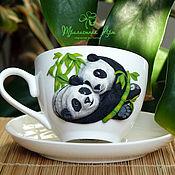 "Посуда ручной работы. Ярмарка Мастеров - ручная работа Чайная пара ""Панды"". Handmade."