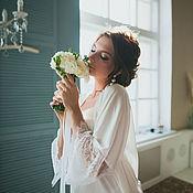 Халаты ручной работы. Ярмарка Мастеров - ручная работа Шелковый халат для невесты. Handmade.