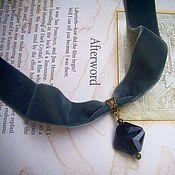 """Украшения ручной работы. Ярмарка Мастеров - ручная работа Бархатный темно-серый чокер"""" Black crystal"""". Handmade."""