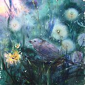 Картины и панно ручной работы. Ярмарка Мастеров - ручная работа Акварель-диптих Птица. Handmade.