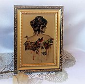 Картины и панно ручной работы. Ярмарка Мастеров - ручная работа Панно  на стекле Среди бабочек. Handmade.