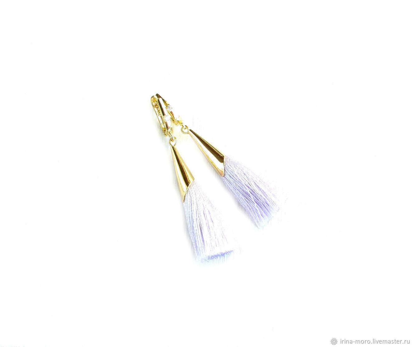 Earring of the brush 'In lilac tones' long drop earrings tassels, Tassel earrings, Moscow,  Фото №1