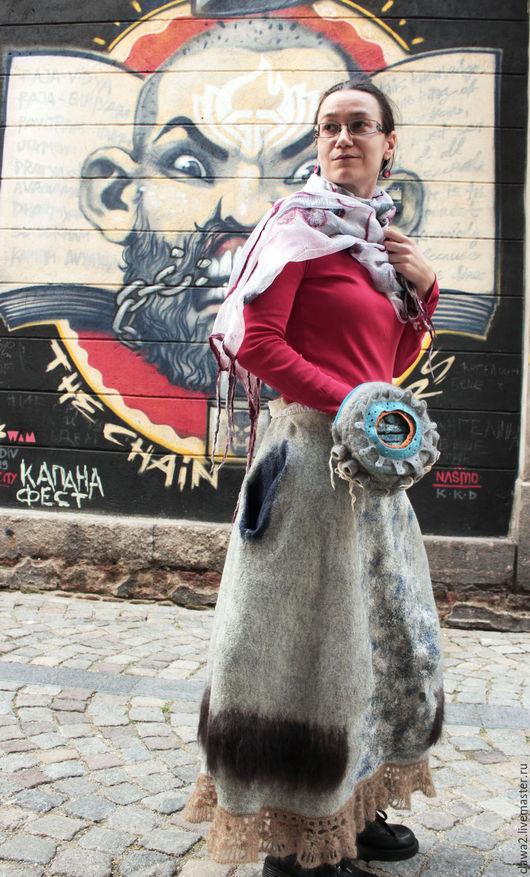 """Юбки ручной работы. Ярмарка Мастеров - ручная работа. Купить войлочная юбка """"Анна"""". Handmade. Серый, теплая одежда"""