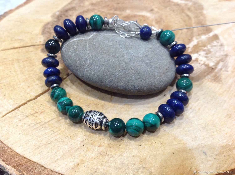A bracelet made of beads: Silver bracelet made of malachite and lapis lazuli, Bead bracelet, Moscow,  Фото №1