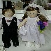 Куклы и игрушки ручной работы. Ярмарка Мастеров - ручная работа Текстильная каркасная кукла Жених и Невеста. Handmade.