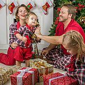 """Одежда ручной работы. Ярмарка Мастеров - ручная работа Пижамная вечеринка для всей семьи""""Весёлые оленята"""". Handmade."""