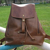 Сумки и аксессуары handmade. Livemaster - original item Backpack leather brown, light. Handmade.