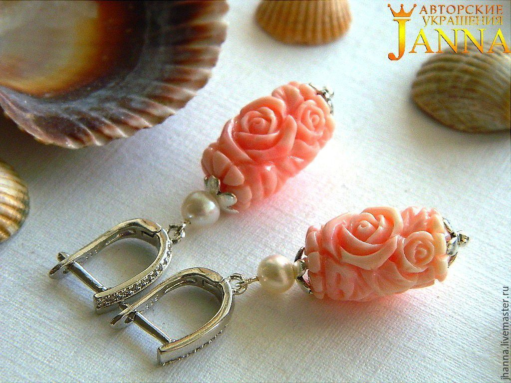Coral. ' The tenderness of an angel' earrings with carved coral and pearls, Earrings handmade, Volgograd, Фото №1