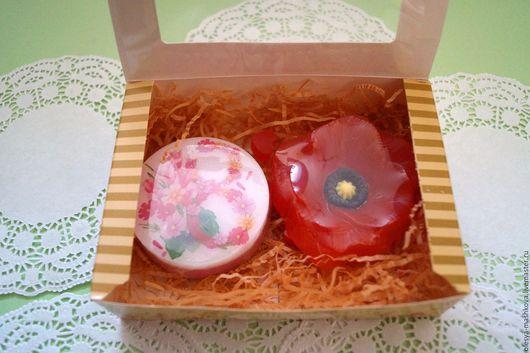 Подарочные наборы косметики ручной работы. Ярмарка Мастеров - ручная работа. Купить Набор мыла в коробке Мак на 8 марта. Handmade.