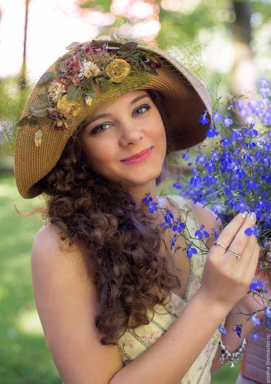 Шляпы ручной работы. Ярмарка Мастеров - ручная работа. Купить шляпа для лета и фотосессий Табачная Мэри. Handmade. Шляпа с полями