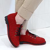 """Обувь ручной работы. Ярмарка Мастеров - ручная работа Валяные туфли """"Клубника с ромом"""". Handmade."""