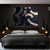 Панно ручной работы. Ярмарка Мастеров - ручная работа Объемная картина черная абстракция с золотой поталью. Handmade.