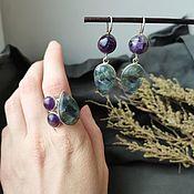 Украшения handmade. Livemaster - original item Earrings and ring with amethyst and fluorite.. Handmade.