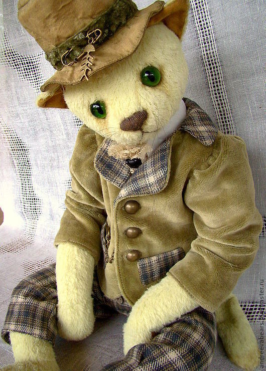 """Мишки Тедди ручной работы. Ярмарка Мастеров - ручная работа. Купить Кот""""Джером"""". Handmade. Бежевый, зеленые глаза, друзья тедди"""