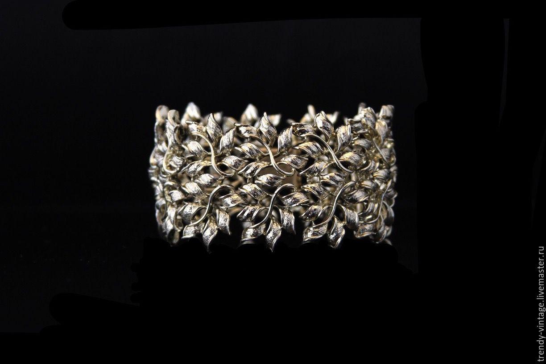 Винтаж: Изящный ажурный браслет от Coro во флористическом дизайне, Браслеты винтажные, Москва,  Фото №1