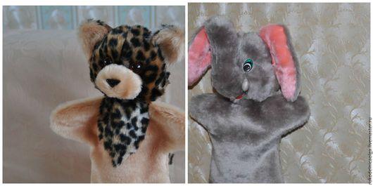 """Кукольный театр ручной работы. Ярмарка Мастеров - ручная работа. Купить """"Слон и Леопард"""" Кукольный театр на руку. Handmade. Комбинированный"""