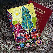 Канцелярские товары ручной работы. Ярмарка Мастеров - ручная работа Обложка на паспорт ГОРОД РАДОСТИ. Handmade.